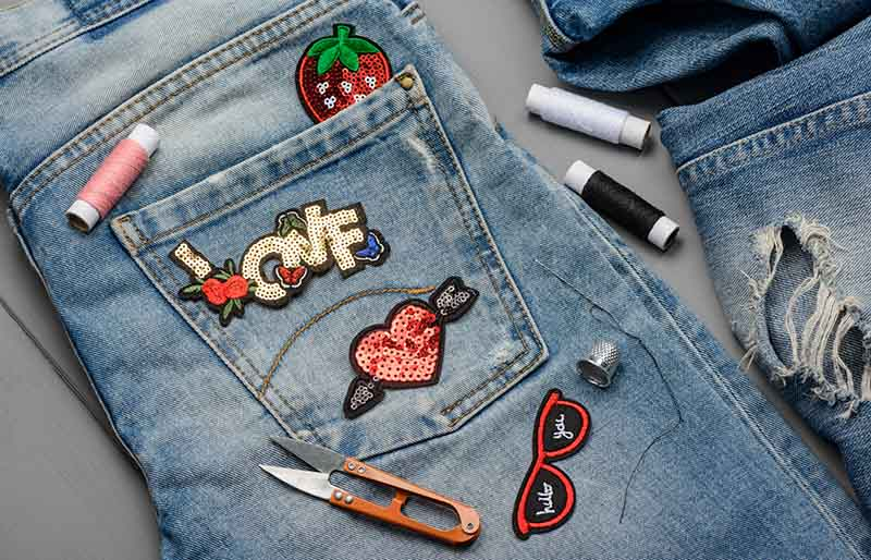 applying patches denim embroidered sequin decorative | winter trends