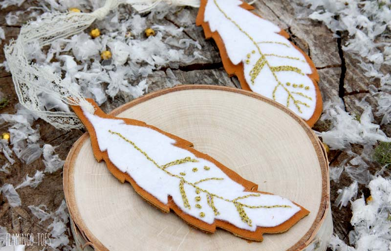 embroidered felt and leather ornaments   christmas ornaments to sew