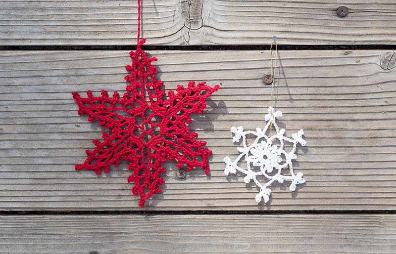 two simple elegant white red woven | christmas ornaments to sew
