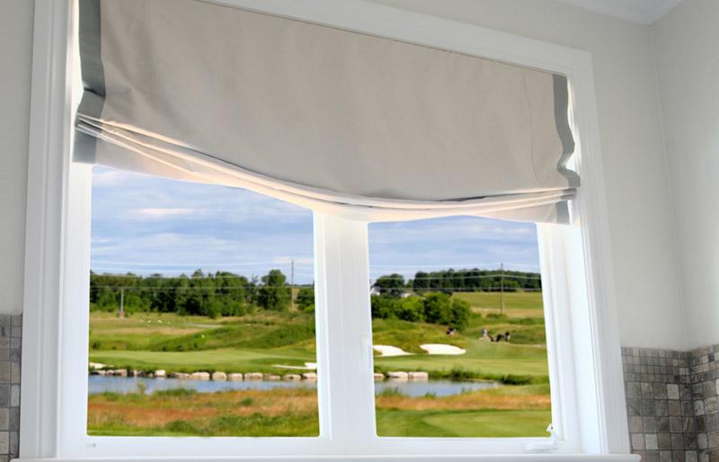 bathroom interior model home golf course | window shade
