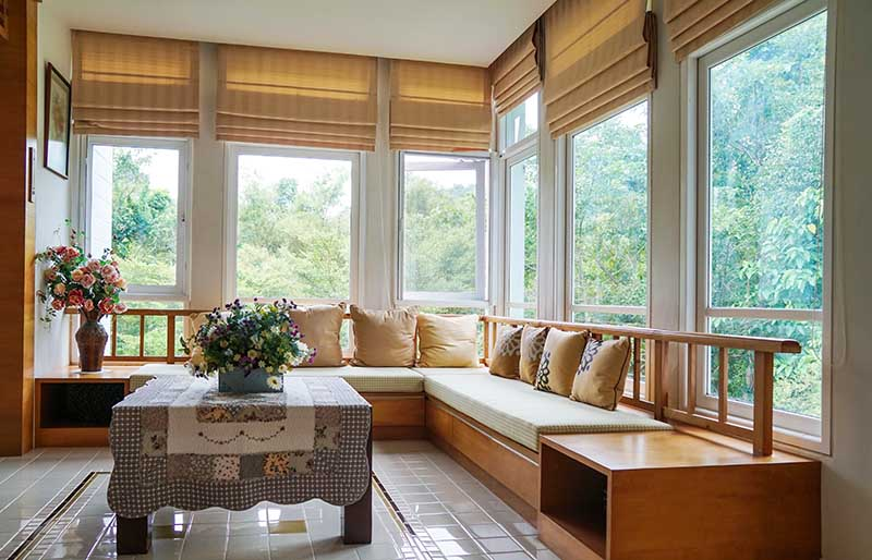 brown roman blind shade curtain tree | window shade