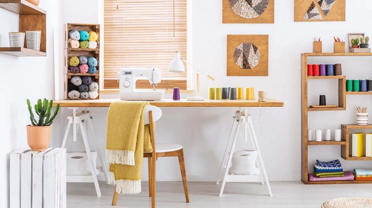 real photo colorful room interior desk   Sewing Room Organization Hacks For Hassle-Free Sewing   Featured