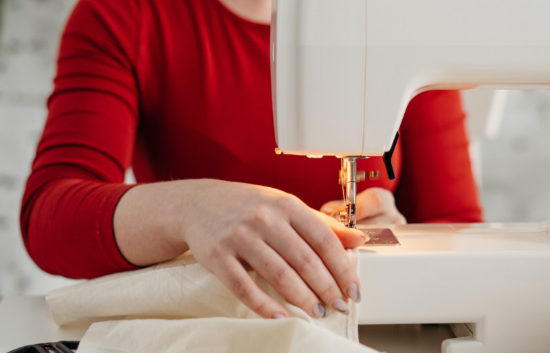photo of woman sewing | gusset sewing