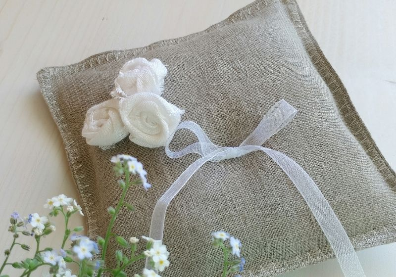 Pillow with Flowers and Ribbon | boho throw pillows