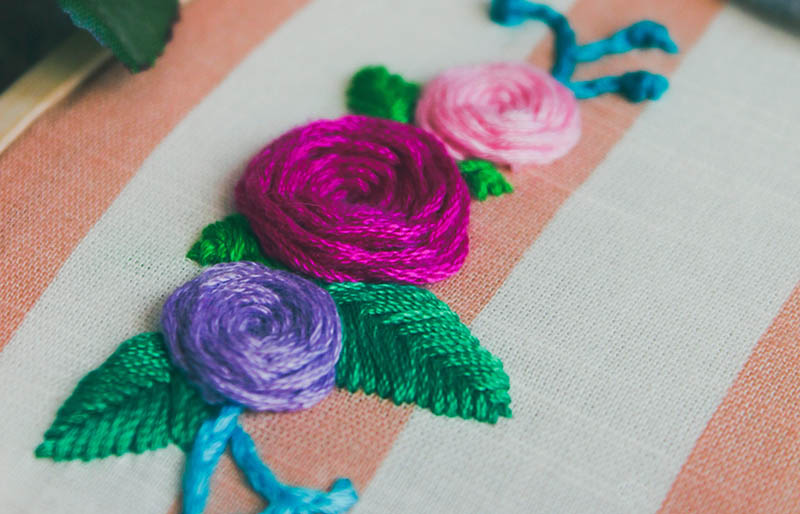 assorted color flower embroidered decor | hand embroidery stitches