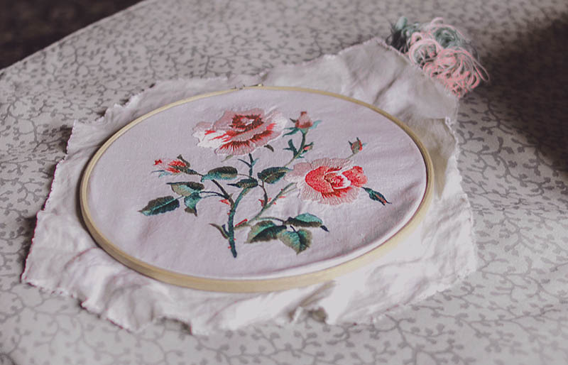 floral design on white textile | hand embroidery stitches