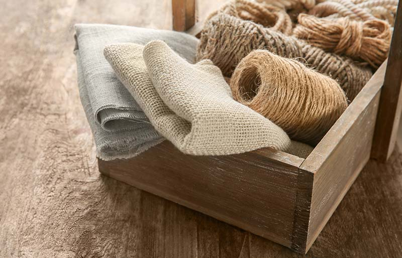 hemp cloth rope crate on wooden | fabric stash management