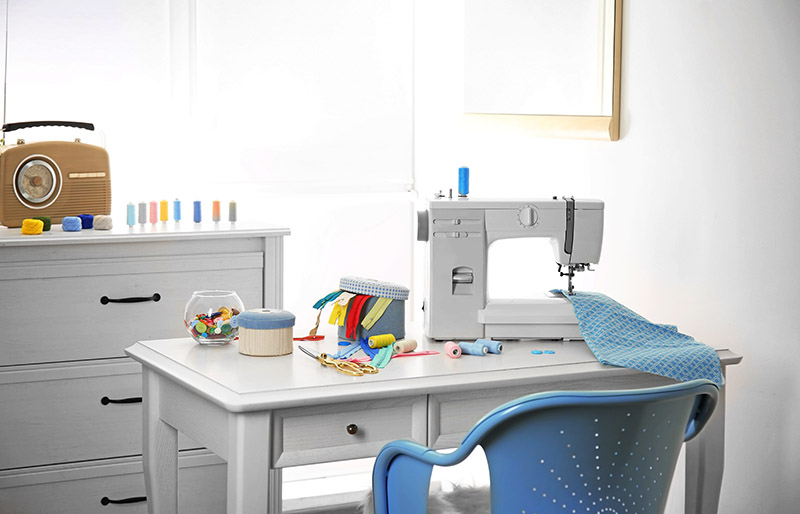sewing machine fabric on table tailor | sewing table ideas