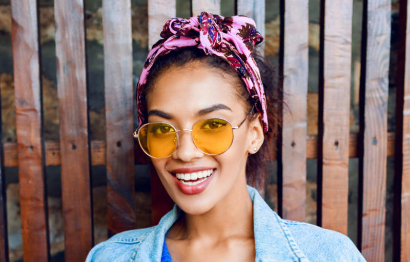 close portrait young mixed student girl | head wraps headband