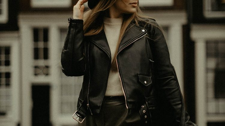 elegant woman standing in old town | Sewing Tutorial | Learn to Sew A Stylish Leather Bomber Jacket | Featured