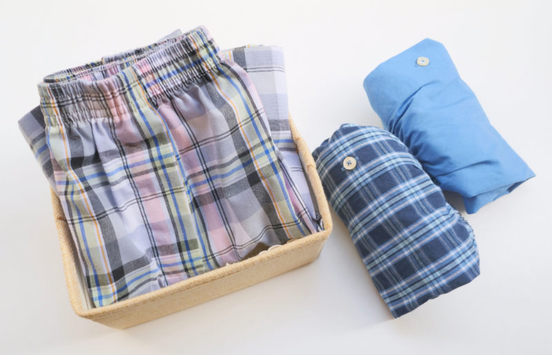 mens boxer shorts on white background | diy boxer shorts