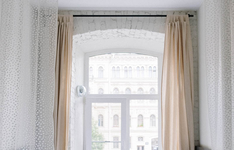 white window curtain near bed   rod pocket curtains