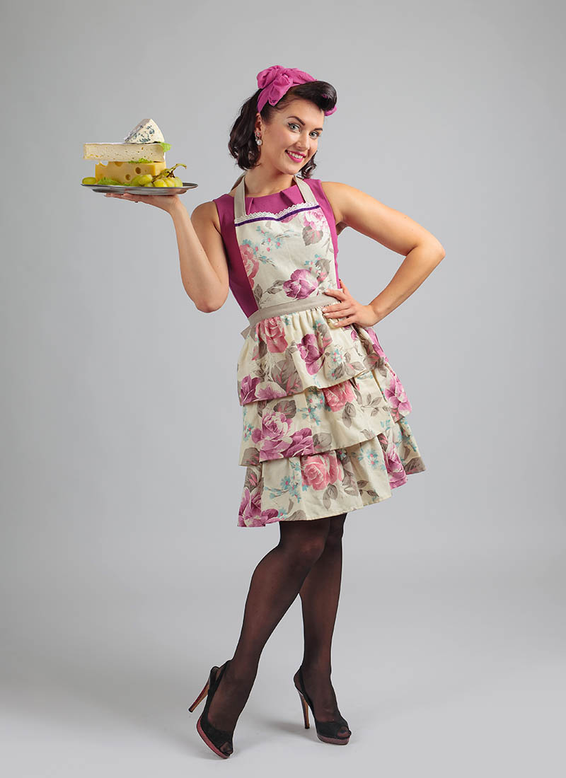young beautiful woman apron different cheese | apron pattern