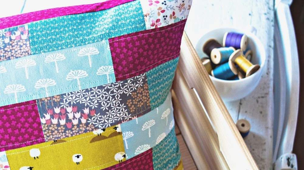 handmade patchwork pillow case | Fun Sewing Ideas For Moms and Kids