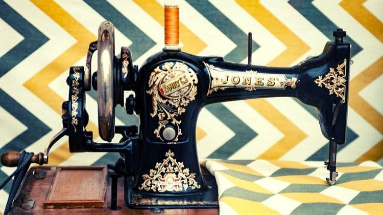 white and yellow chevron cloth on black sewing machine | Basic Sewing Machine Parts Every Beginner Should Know | Featured