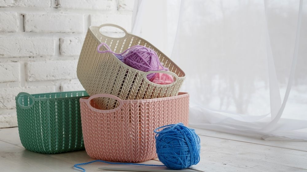 leisure concept home organizers colored baskets | Essential Crochet Tools For Beginners