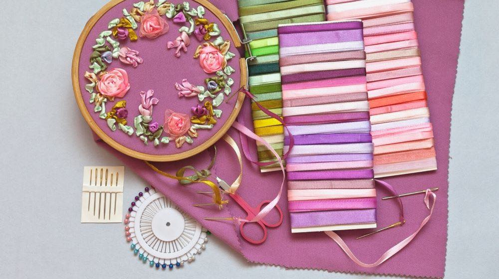 embroidery process satin ribbons roses flowers | Hand Embroidery Needle | Everything You Need To Know