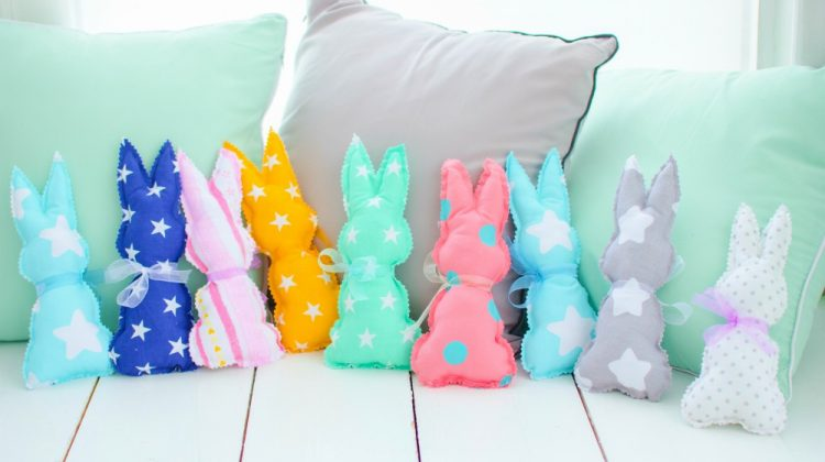 Children's textile toys colorful bunnies | Easter Sewing Projects To Make The Season Festive! | simple easter sewing projects | Featured