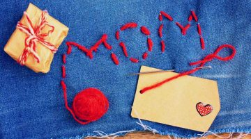 Mother's Day background, denim embroidered with letters, gift, paper tag | Thoughtful Sewing Gifts For Mom | mother day projects | Featured