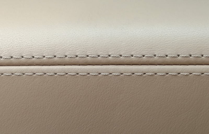 cream leather stitched large thread | basic hand sewing stitches